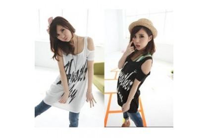 CLEARANCE   Fashionhomez 62390 Shaved shoulder long cotton T
